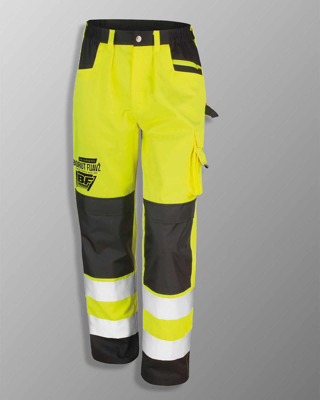 Odsevne delovne hlače fluo