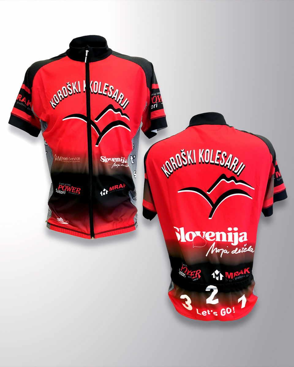 Kolesarska majica z dolgo zadrgo Koroški kolesarji